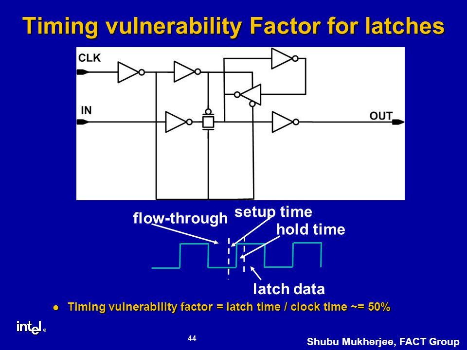 ® 44 Shubu Mukherjee, FACT Group Timing vulnerability Factor for latches Timing vulnerability factor = latch time / clock time ~= 50% Timing vulnerability factor = latch time / clock time ~= 50% flow-through latch data setup time hold time