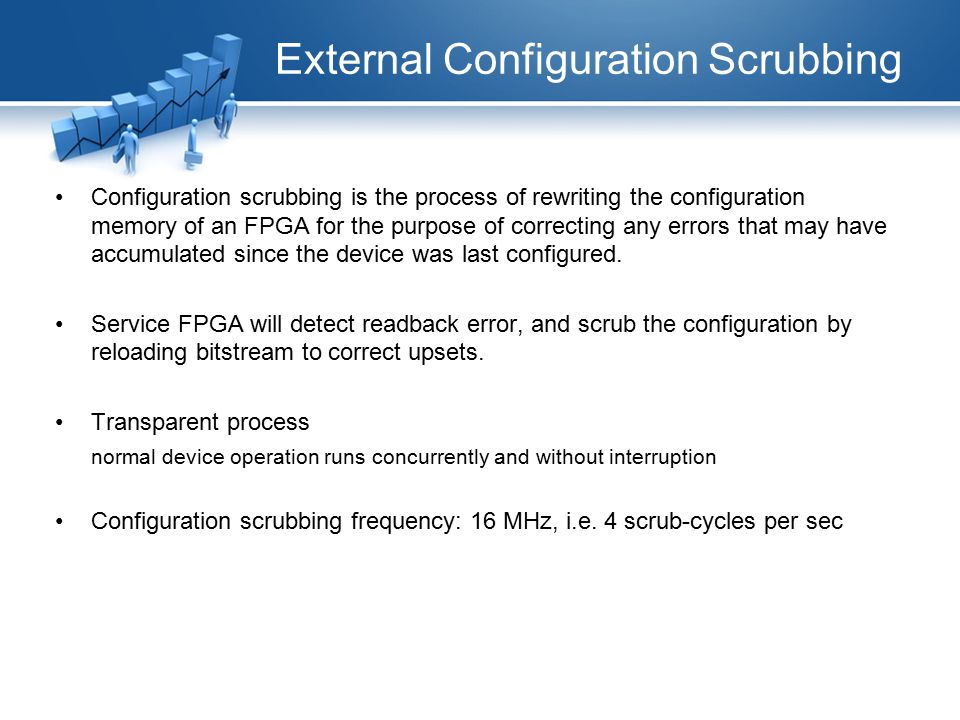 External Configuration Scrubbing Configuration scrubbing is the process of rewriting the configuration memory of an FPGA for the purpose of correcting any errors that may have accumulated since the device was last configured.