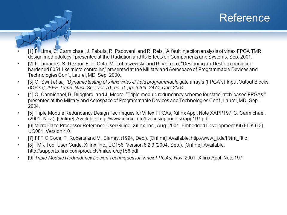 "Reference [1] F. Lima, C. Carmichael, J. Fabula, R. Padovani, and R. Reis, ""A fault injection analysis of virtex FPGA TMR design methodology,"" present"