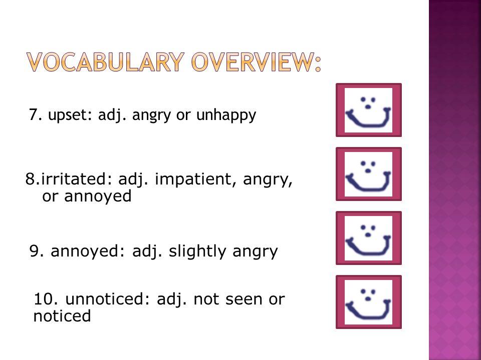 7. upset: adj. angry or unhappy 10. unnoticed: adj.
