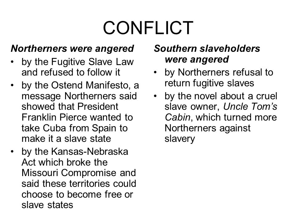 CONFLICT Northerners were angered by the Fugitive Slave Law and refused to follow it by the Ostend Manifesto, a message Northerners said showed that P