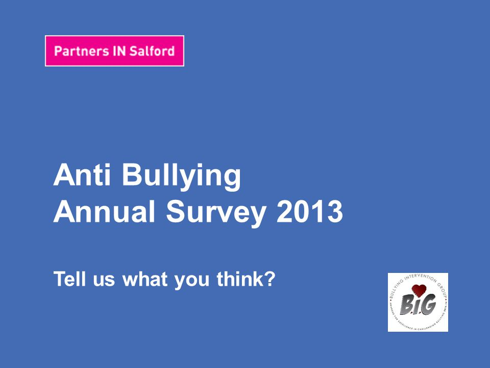 Anti Bullying Pupil Survey 2013 Tell us what you think.