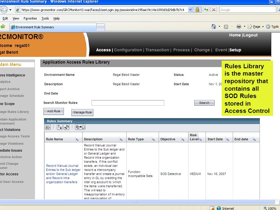 www.fulcrumway.com Rules Library is the master repository that contains all SOD Rules stored in Access Control