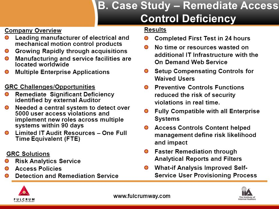 www.fulcrumway.com B. Case Study – Remediate Access Control Deficiency Company Overview Leading manufacturer of electrical and mechanical motion contr