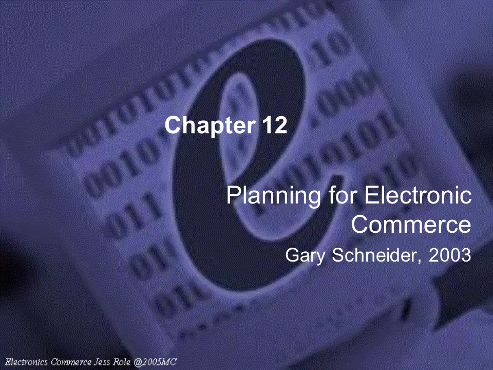 Chapter 12 Planning for Electronic Commerce Gary Schneider, 2003