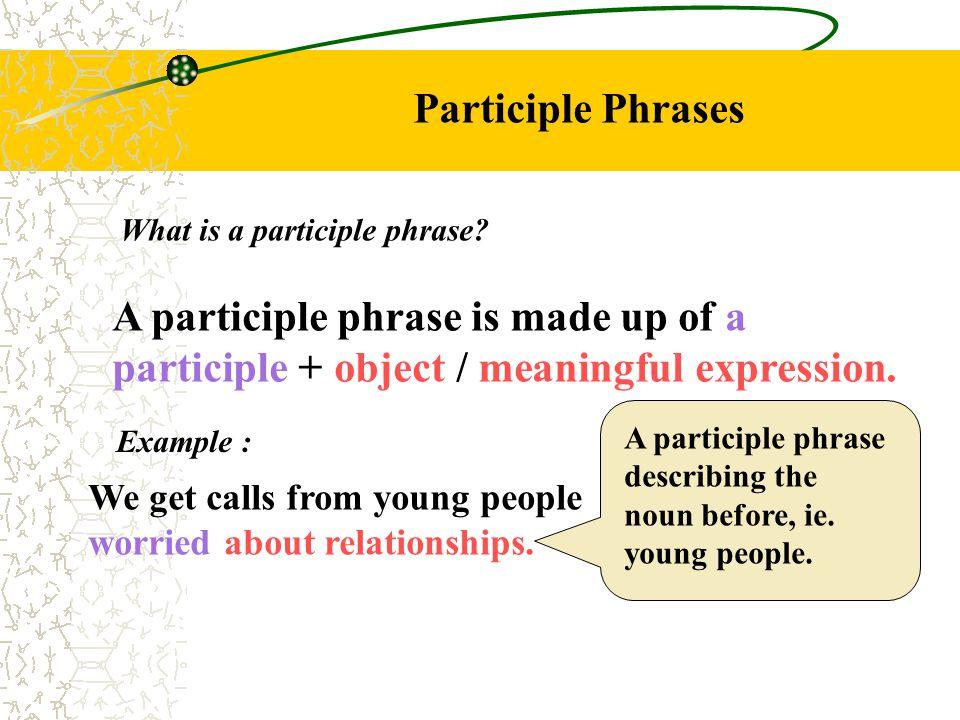 Participle Phrases What is a participle phrase.