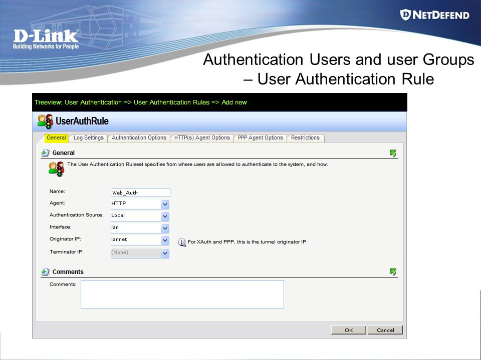 Authentication Users and user Groups – User Authentication Rule