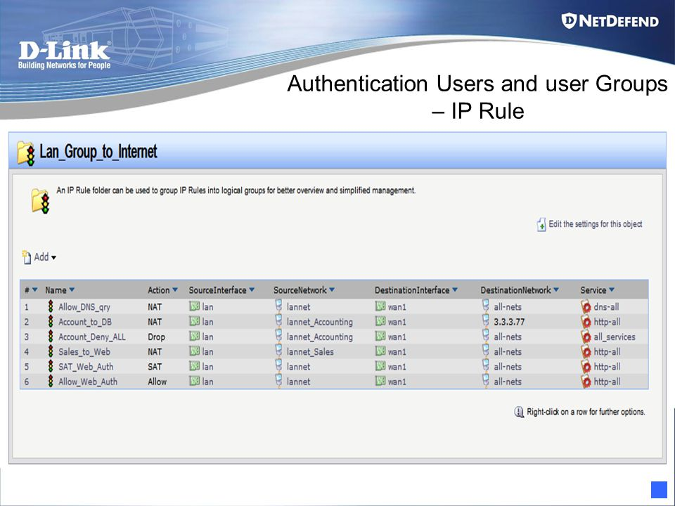 Authentication Users and user Groups – IP Rule