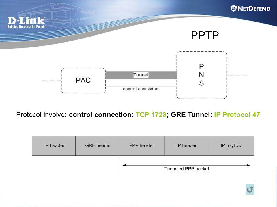 PPTP Protocol involve: control connection: TCP 1723; GRE Tunnel: IP Protocol 47