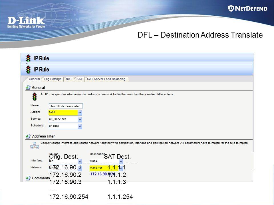 DFL – Destination Address Translate Orig. Dest.SAT Dest.