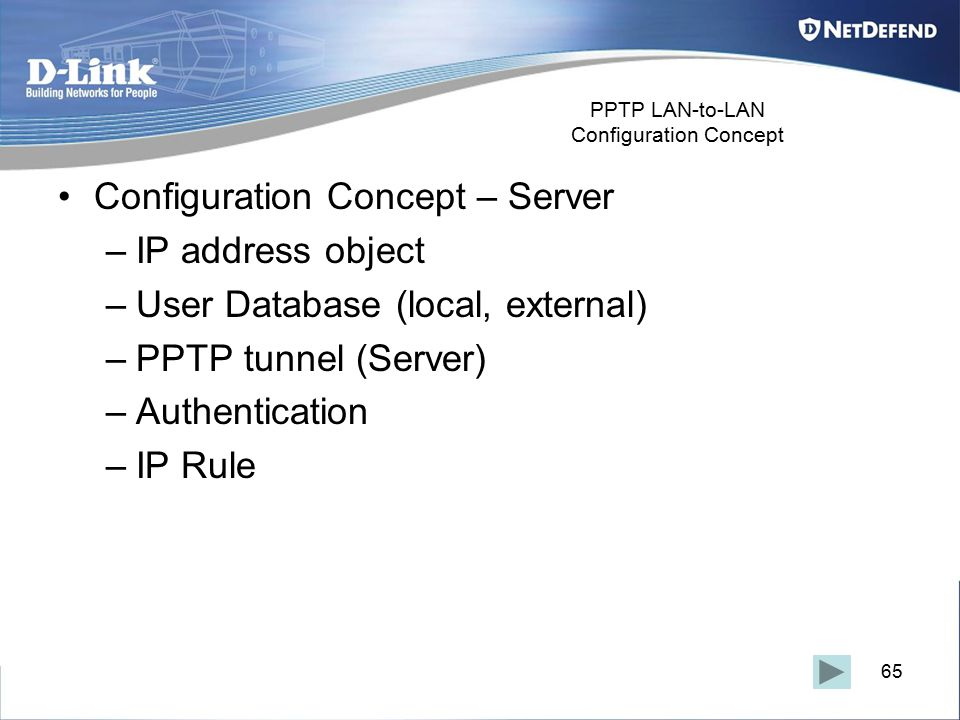 65 PPTP LAN-to-LAN Configuration Concept Configuration Concept – Server –IP address object –User Database (local, external) –PPTP tunnel (Server) –Authentication –IP Rule