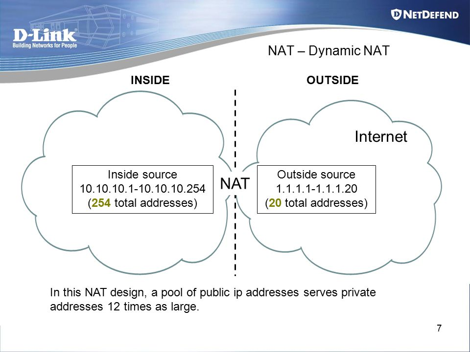 7 NAT – Dynamic NAT INSIDEOUTSIDE In this NAT design, a pool of public ip addresses serves private addresses 12 times as large. NAT Outside source 1.1