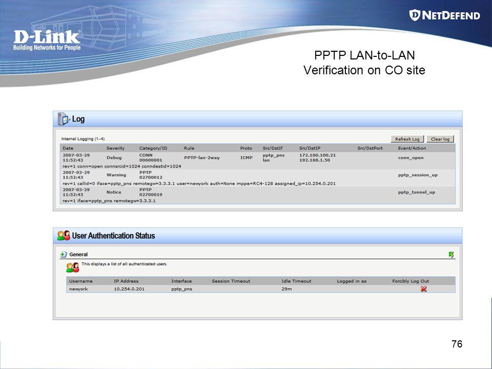 76 PPTP LAN-to-LAN Verification on CO site