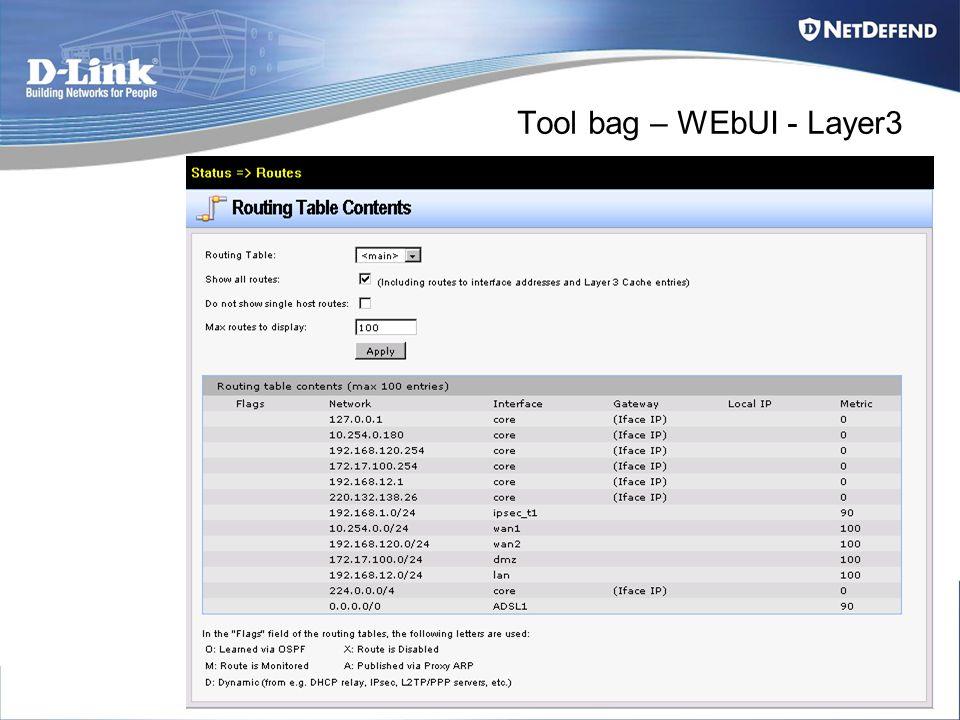 Tool bag – WEbUI - Layer3