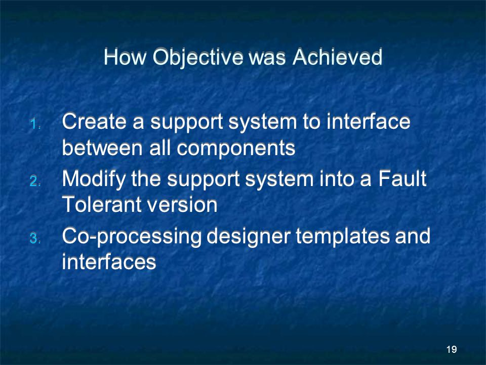 19 How Objective was Achieved 1. Create a support system to interface between all components 2.