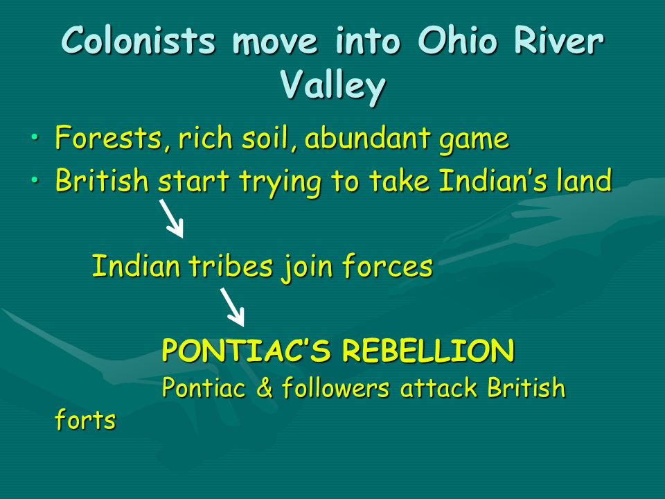 Colonists move into Ohio River Valley Forests, rich soil, abundant gameForests, rich soil, abundant game British start trying to take Indian's landBritish start trying to take Indian's land Indian tribes join forces Indian tribes join forces PONTIAC'S REBELLION Pontiac & followers attack British forts