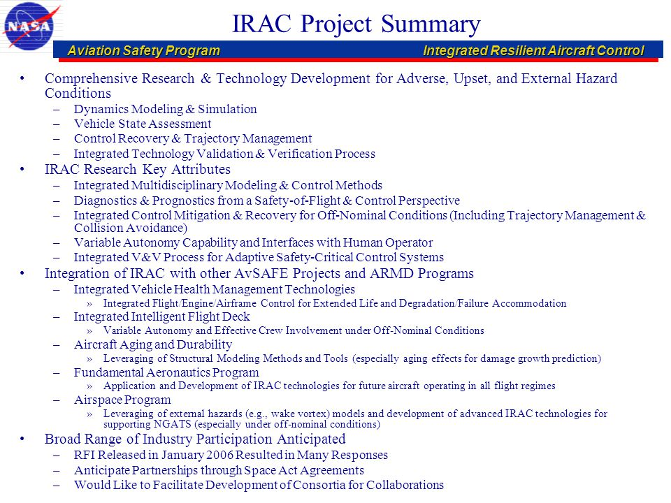 Aviation Safety ProgramIntegrated Resilient Aircraft Control Aviation Safety ProgramIntegrated Resilient Aircraft Control IRAC Project Summary Compreh