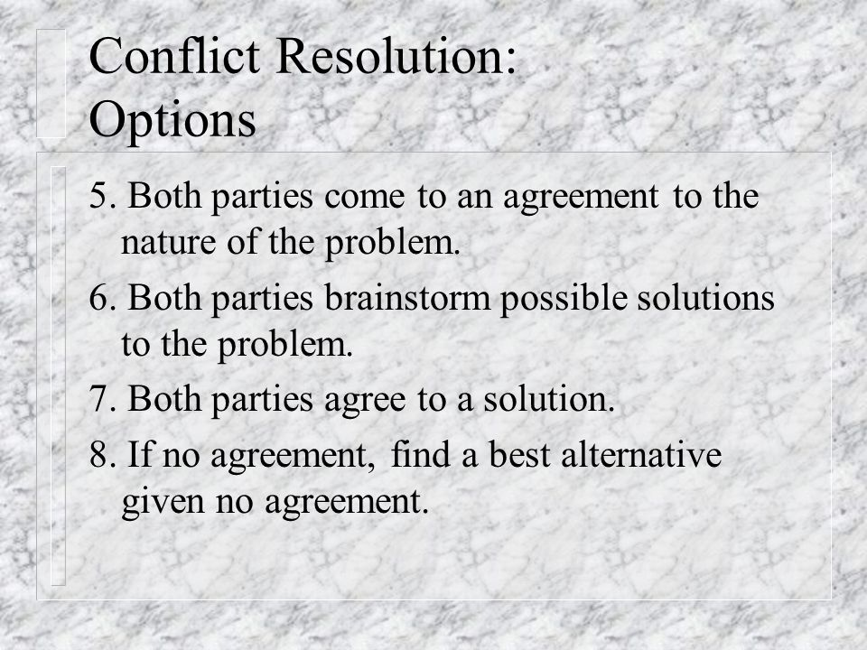 Options: An Example n Mediator: Okay, what's the problem here? n Party: You mean that those blanks on the P.O.s are important? n Other: Yep.
