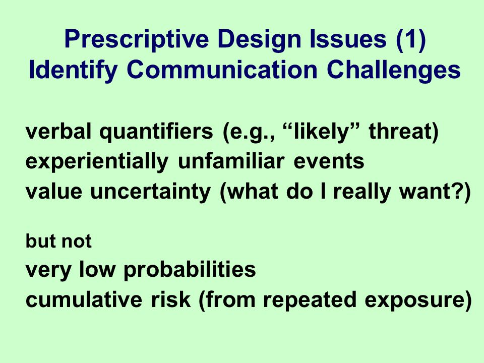 verbal quantifiers (e.g., likely threat) experientially unfamiliar events value uncertainty (what do I really want ) but not very low probabilities cumulative risk (from repeated exposure) Prescriptive Design Issues (1) Identify Communication Challenges