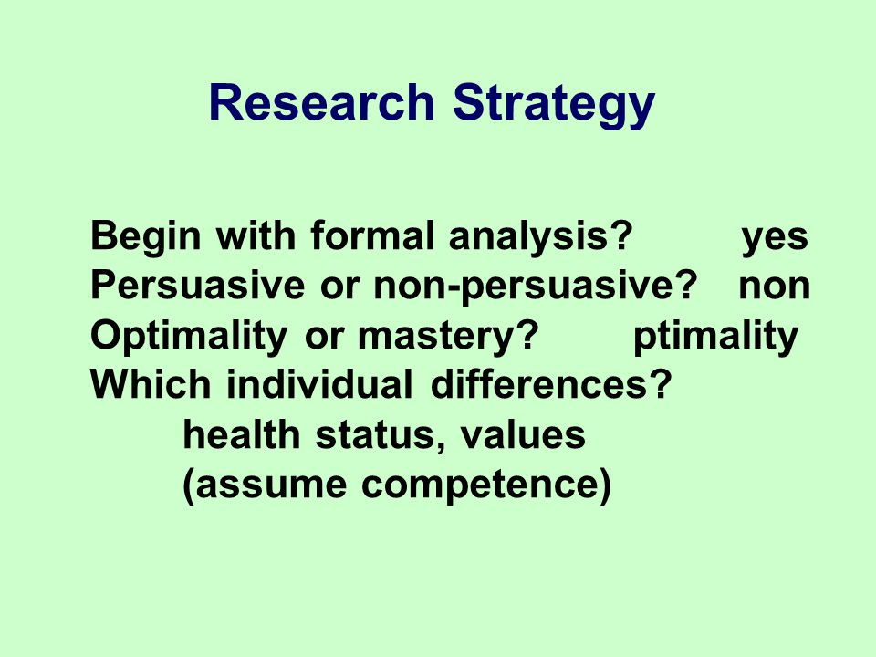 Research Strategy Begin with formal analysis. yes Persuasive or non-persuasive.