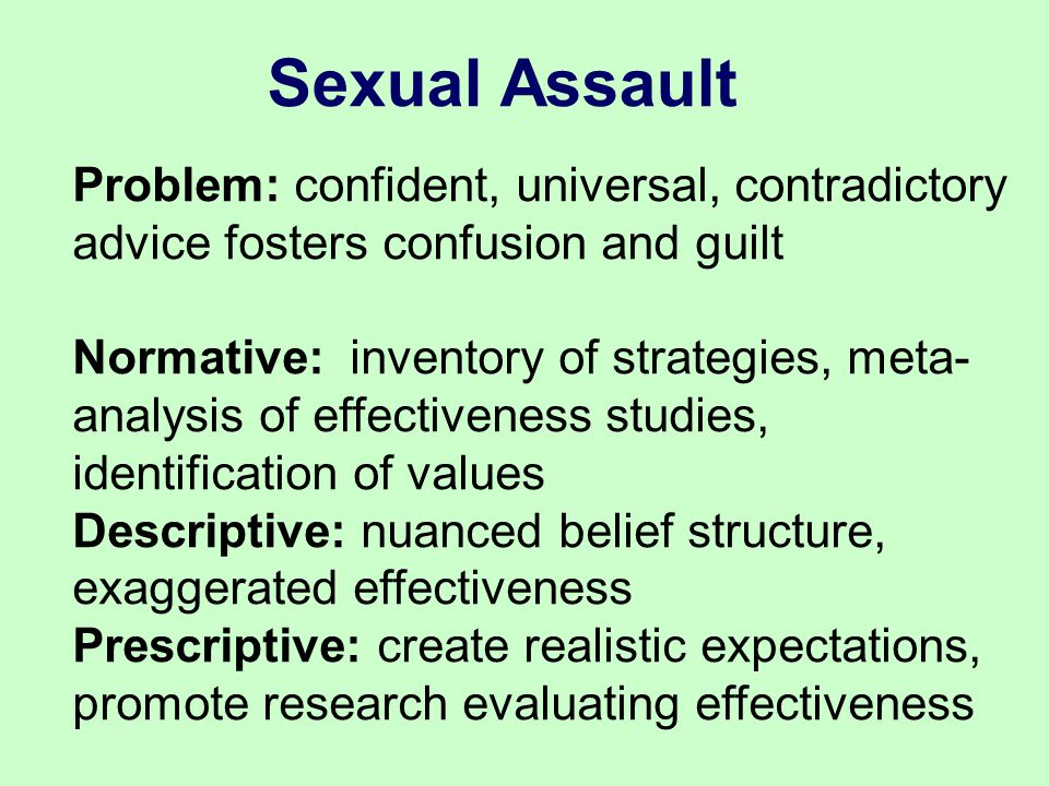 Problem: confident, universal, contradictory advice fosters confusion and guilt Normative: inventory of strategies, meta- analysis of effectiveness studies, identification of values Descriptive: nuanced belief structure, exaggerated effectiveness Prescriptive: create realistic expectations, promote research evaluating effectiveness Sexual Assault