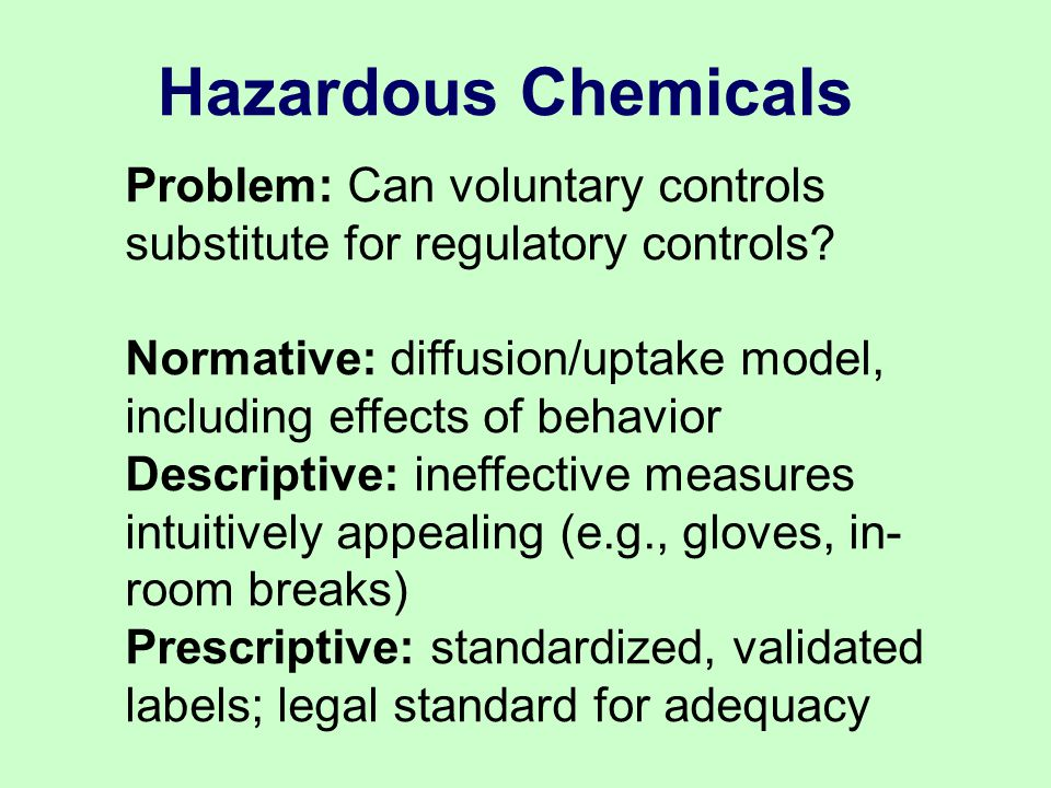 Problem: Can voluntary controls substitute for regulatory controls.