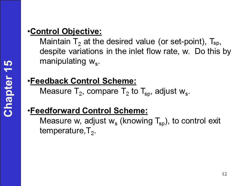 Chapter 15 Control Objective: Maintain T 2 at the desired value (or set-point), T sp, despite variations in the inlet flow rate, w. Do this by manipul