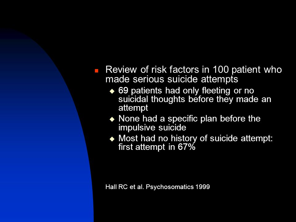 Review of risk factors in 100 patient who made serious suicide attempts  69 patients had only fleeting or no suicidal thoughts before they made an at