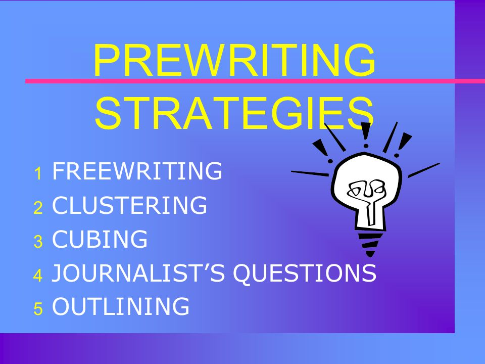 GUIDELINE #3 (Final Thought)  After brainstorming your topic, you might want to explore a particular aspect of it further by using one of the other five prewriting strategies: