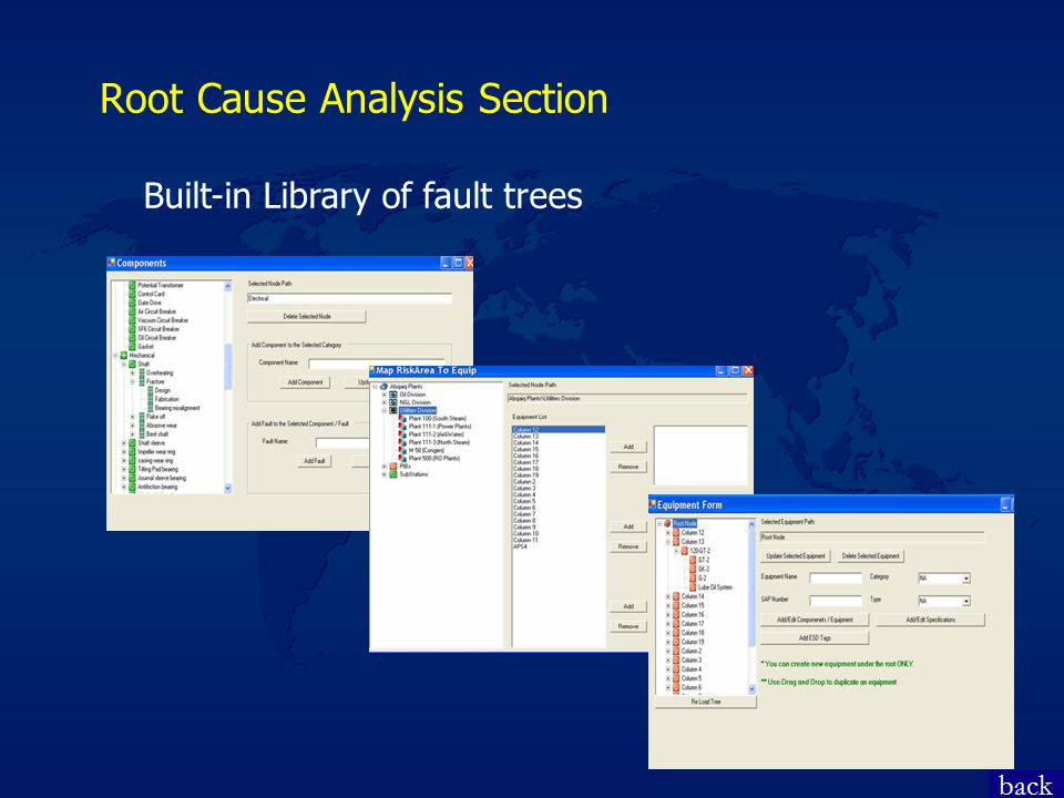 Root Cause Analysis Section back Built-in Library of fault trees