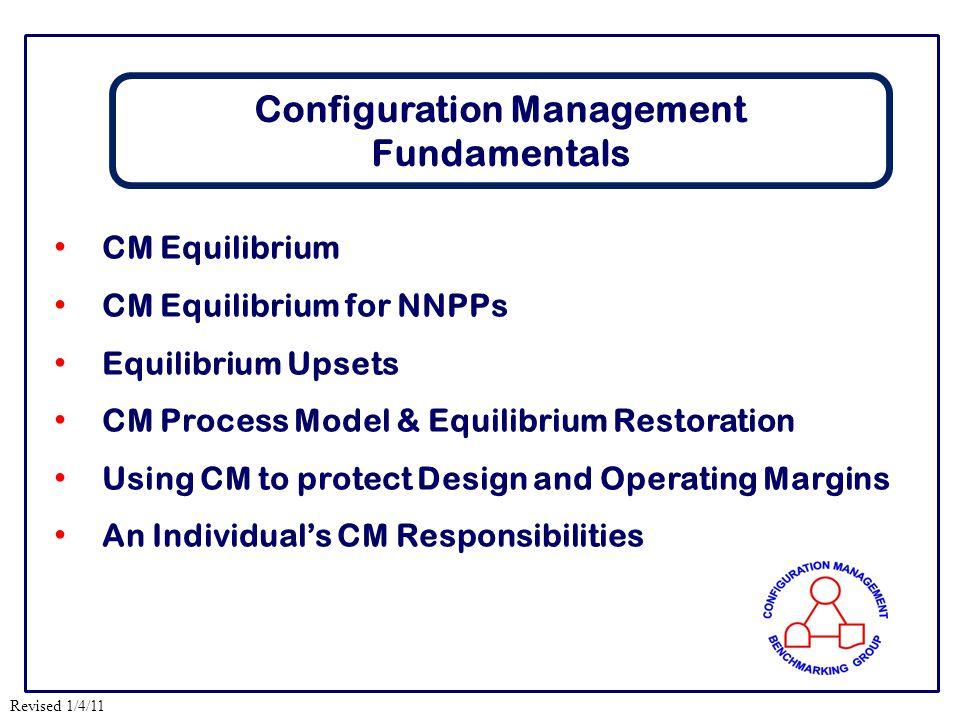 Revised 1/4/11 CM Equilibrium CM Equilibrium for NNPPs Equilibrium Upsets CM Process Model & Equilibrium Restoration Using CM to protect Design and Op