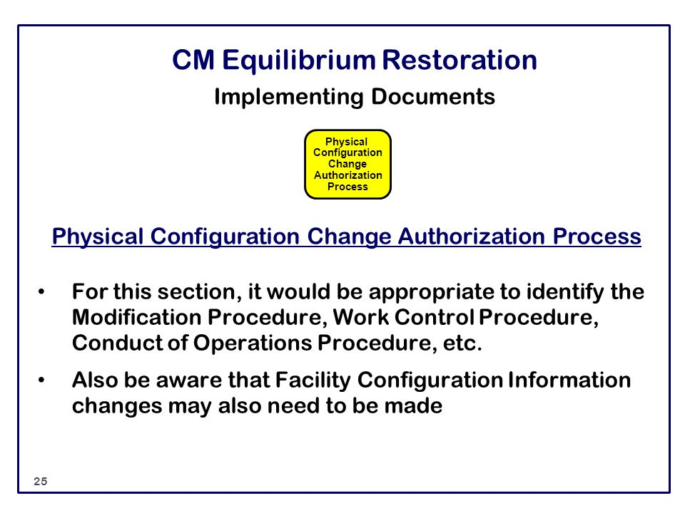 CM Equilibrium Restoration Implementing Documents Physical Configuration Change Authorization Process For this section, it would be appropriate to ide