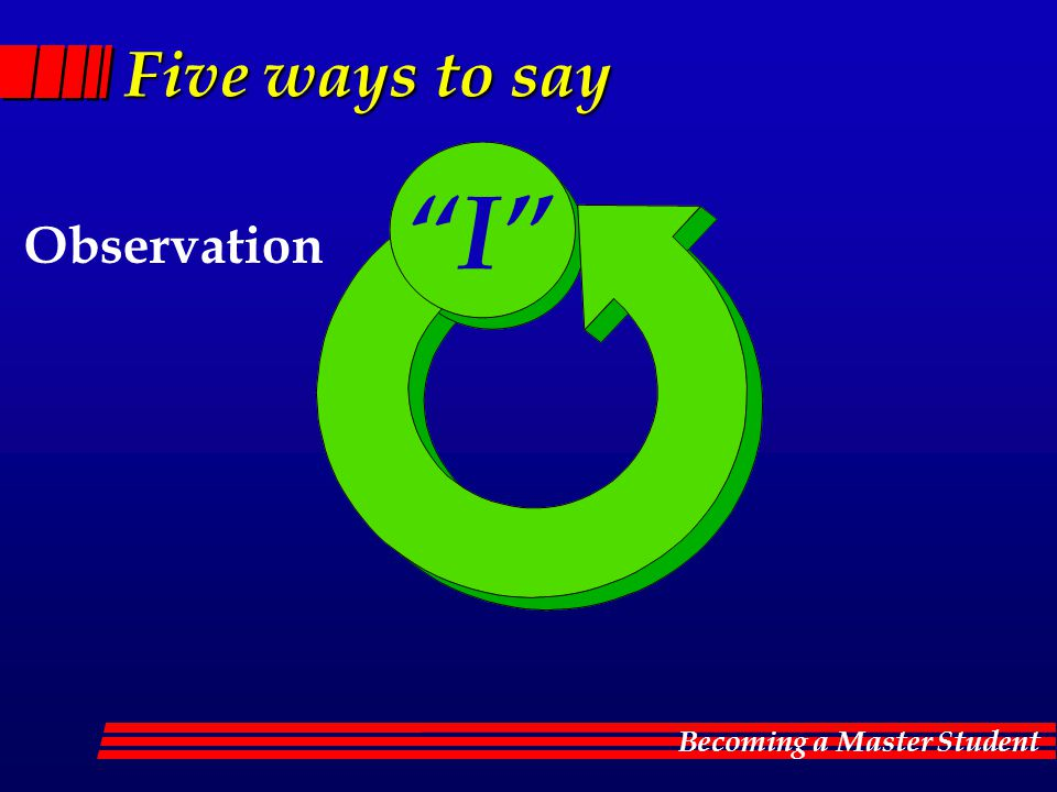 Becoming a Master Student Five ways to say Observation I