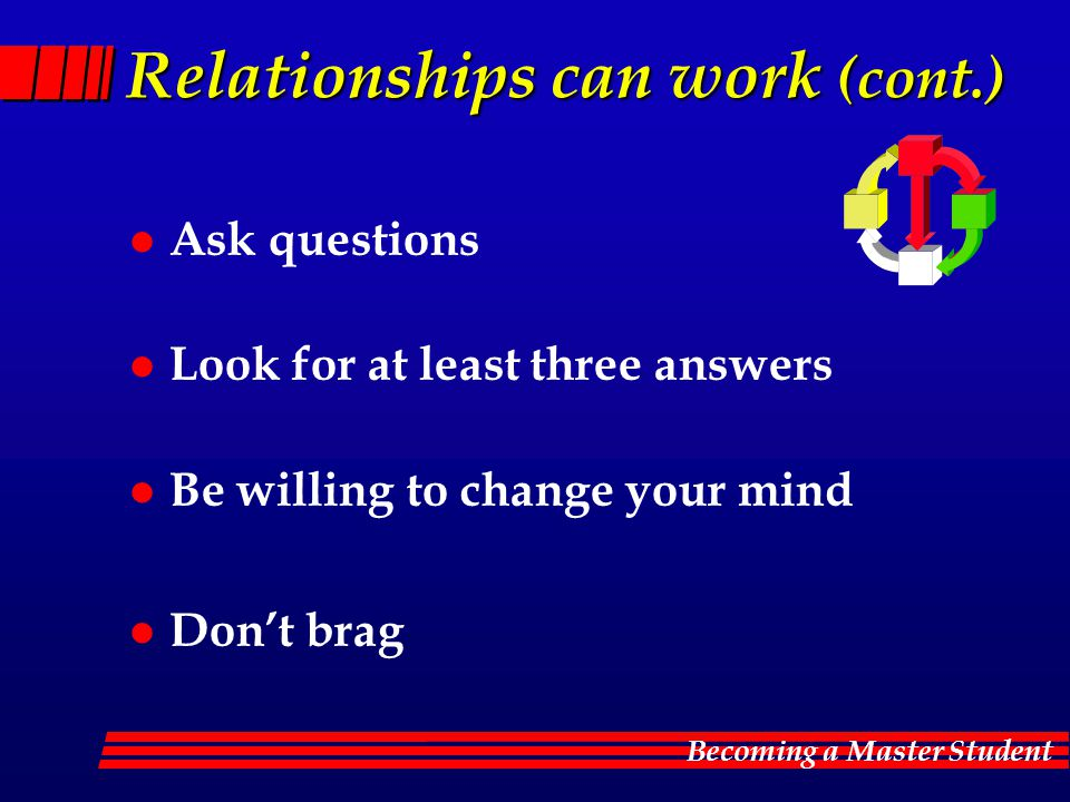 Becoming a Master Student Relationships can work (cont.) l Ask questions l Look for at least three answers l Be willing to change your mind l Don't brag
