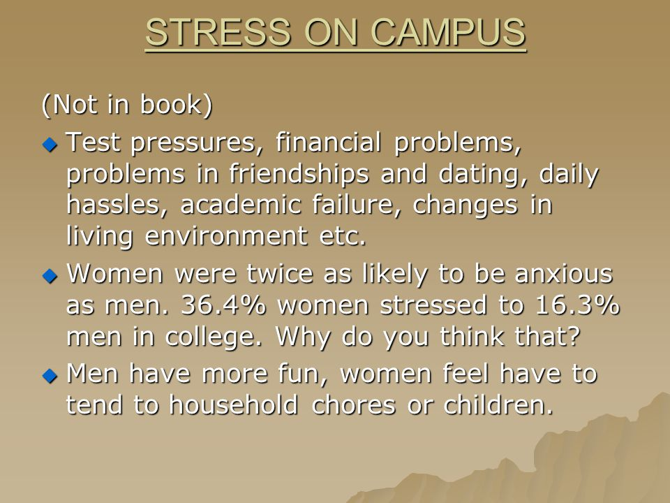 WHO HAS TEST STRESS. Defusing test stress p.