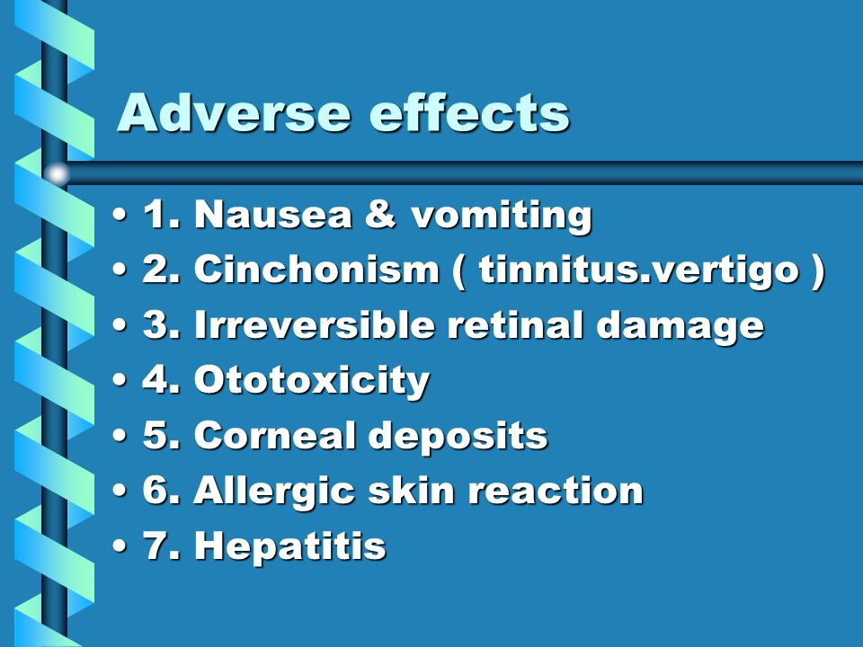 Adverse effects 1. Nausea & vomiting1. Nausea & vomiting 2.