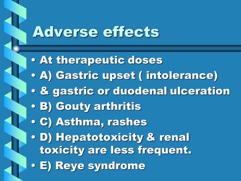 Adverse effects 1.Gastric upset ( less frequent than aspirin ).1.