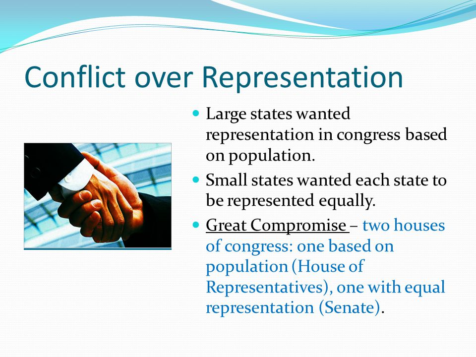 Conflict over Representation Large states wanted representation in congress based on population. Small states wanted each state to be represented equa