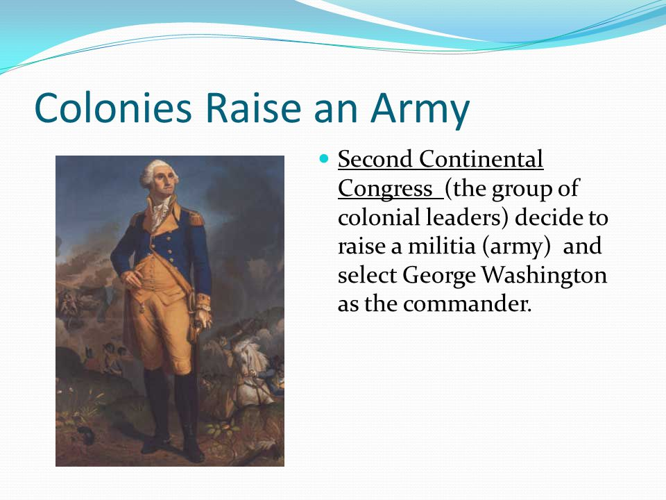Colonies Raise an Army Second Continental Congress (the group of colonial leaders) decide to raise a militia (army) and select George Washington as th