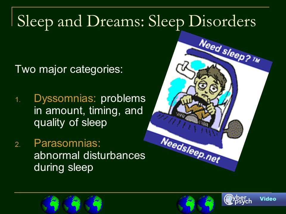 Sleep and Dreams: Sleep Disorders Two major categories: 1.