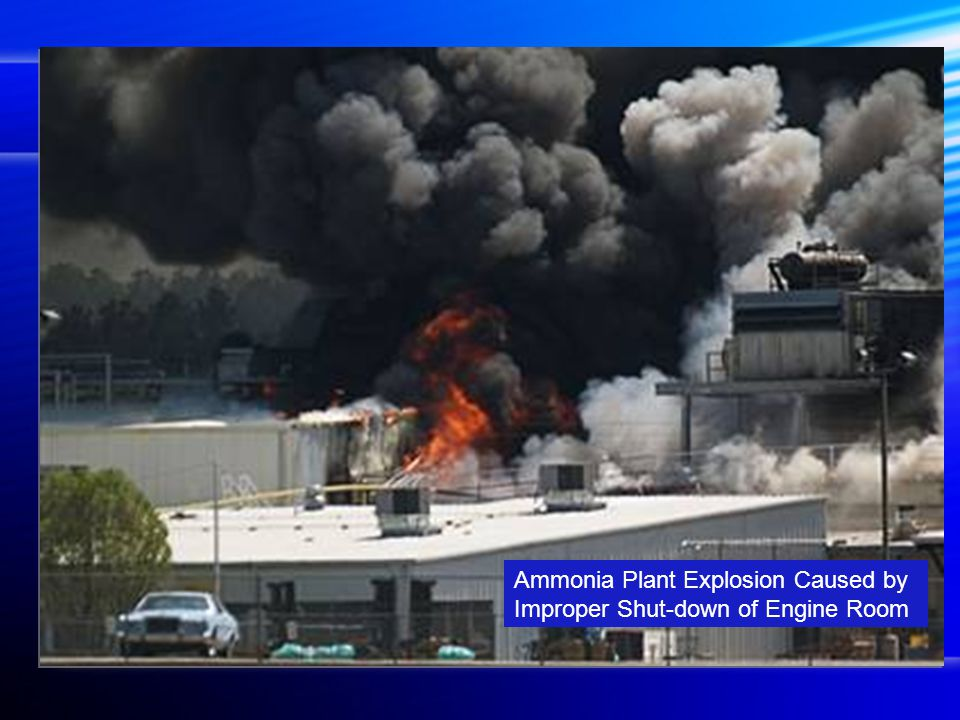 Ammonia Plant Explosion Caused by Improper Shut-down of Engine Room