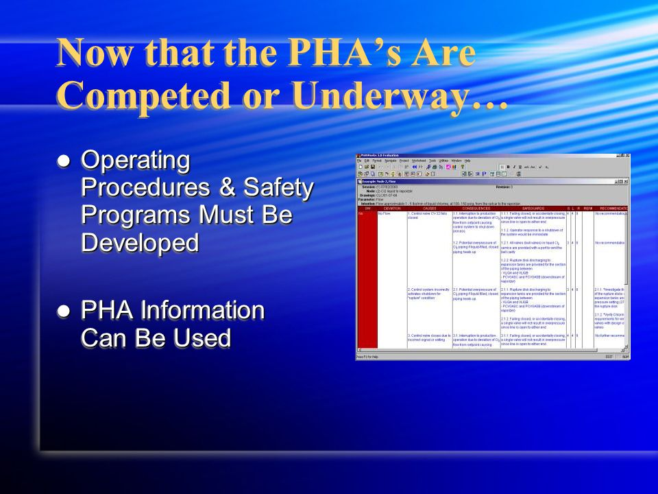 Now that the PHA's Are Competed or Underway… Operating Procedures & Safety Programs Must Be Developed Operating Procedures & Safety Programs Must Be D