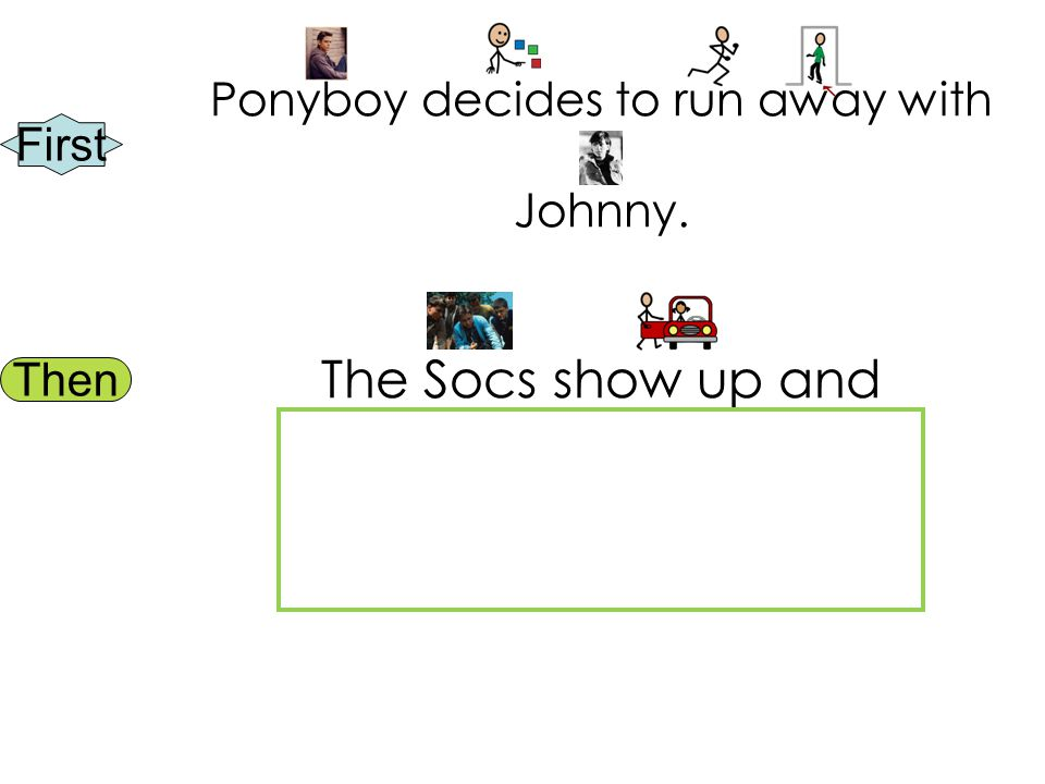 First Then Ponyboy decides to run away with Johnny. The Socs show up and