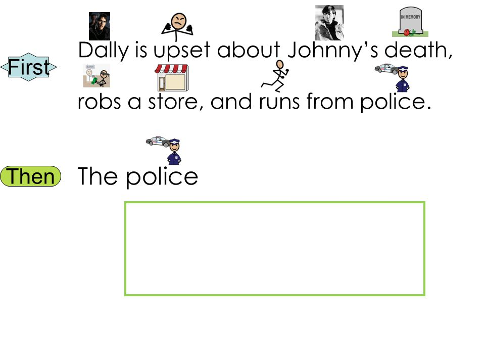 First Then Dally is upset about Johnny's death, robs a store, and runs from police. The police