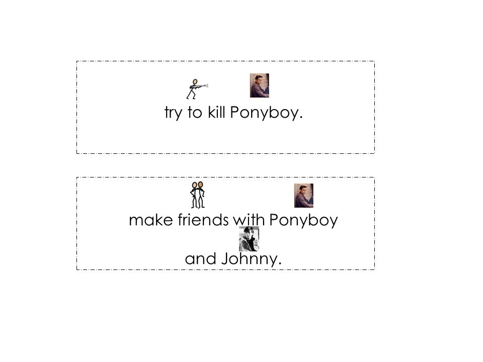 try to kill Ponyboy. make friends with Ponyboy and Johnny.