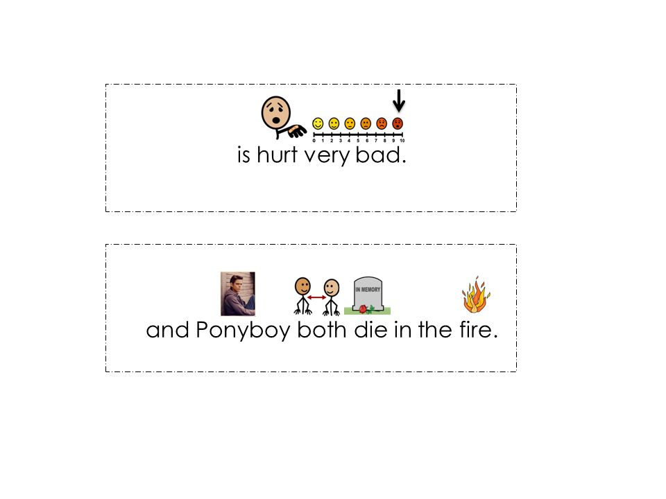 is hurt very bad. and Ponyboy both die in the fire.