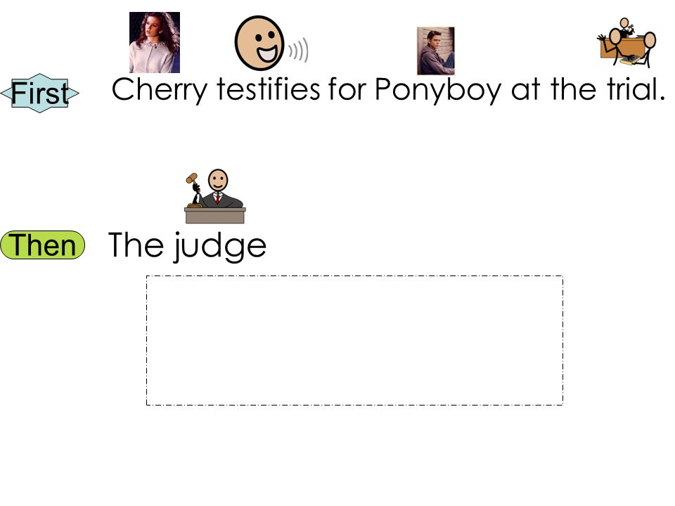 First Then Cherry testifies for Ponyboy at the trial. The judge