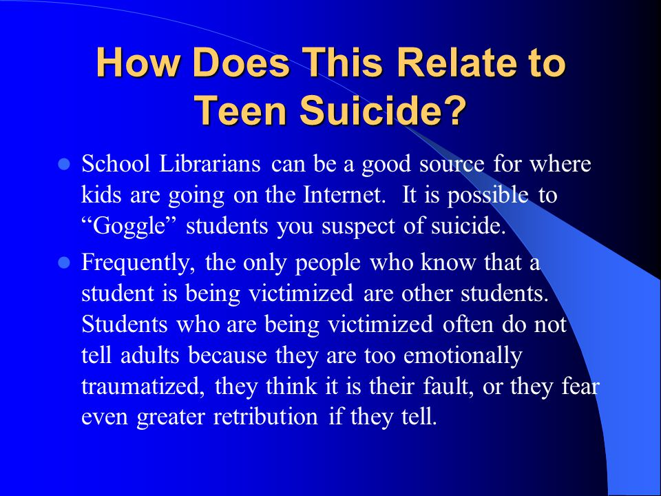 How Does This Relate to Teen Suicide.