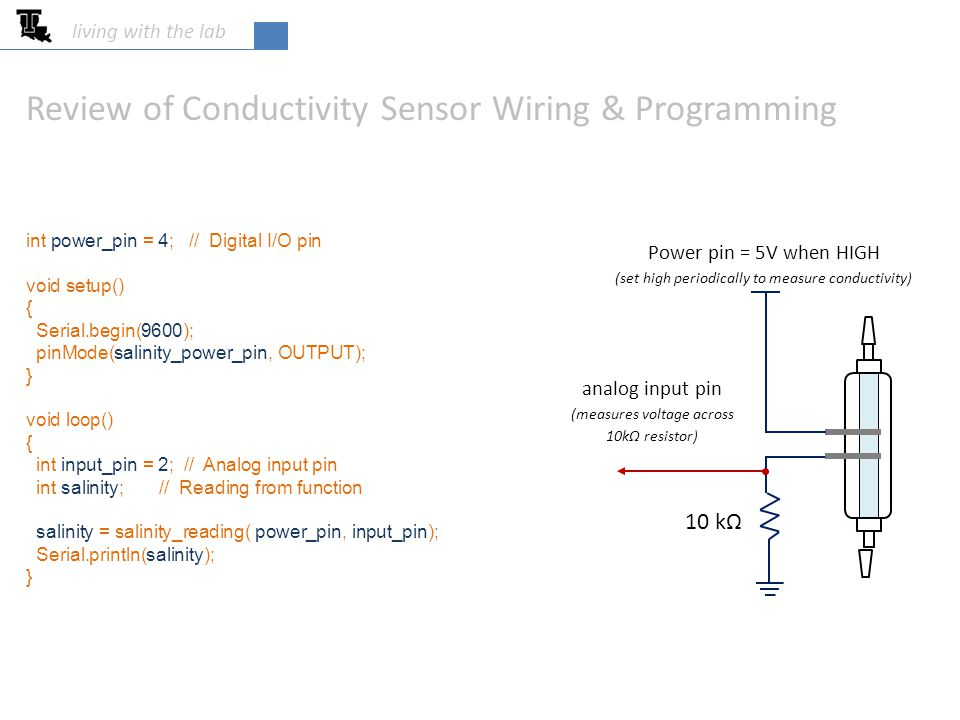 living with the lab 10 kΩ Input power pin = 5V when HIGH (set high periodically to measure conductivity) analog input pin (measures voltage across 10kΩ resistor) Review of Conductivity Sensor Wiring & Programming /* ---------------- salinity_reading ---------------- Return a single reading of the salinty sensor Input: power_pin = Digital I/O pin to supply power to the sensor input_pin = Analog input pin reads voltage across the fixed resistor */ int salinity_reading( int power_pin, int input_pin ) { int reading; digitalWrite( power_pin, HIGH ); // Turn on power delay(100); // Let sensor settle reading = analogRead( input_pin ); // Read voltage digitalWrite( power_pin, LOW ); // Turn off power return reading; }