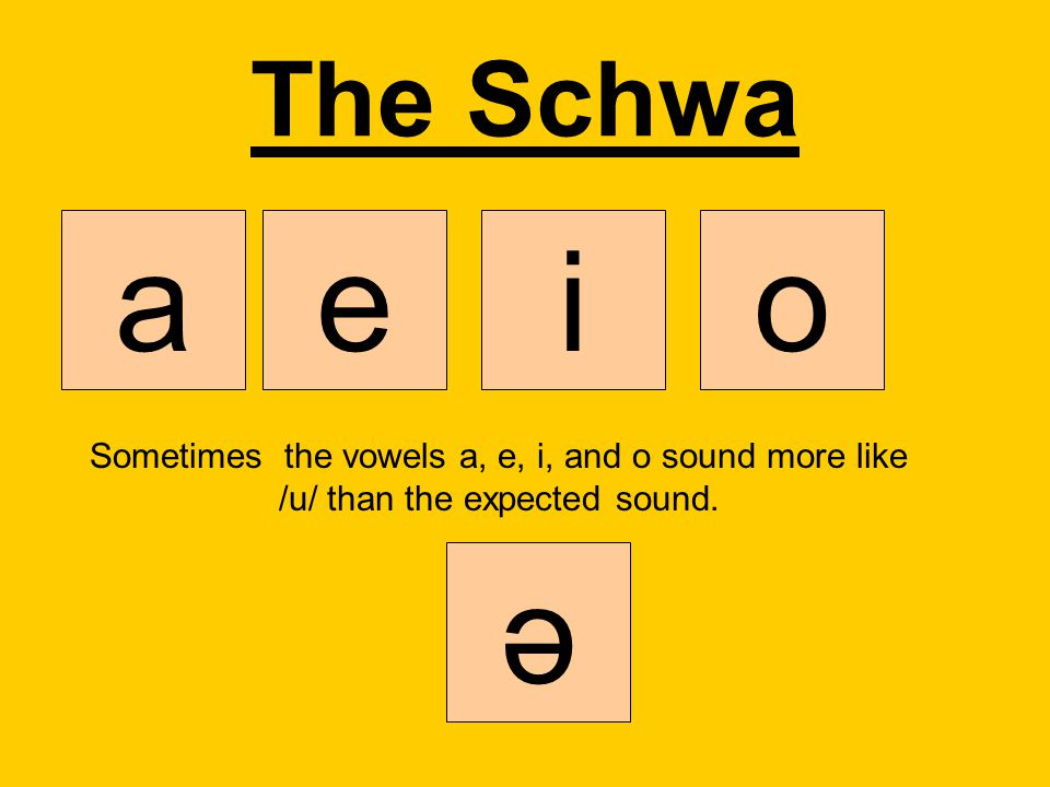 The Schwa aeio Sometimes the vowels a, e, i, and o sound more like /u/ than the expected sound. ә